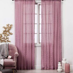 (2) 42x84 Dusty Rose Crushed Sheer Curtain Panels